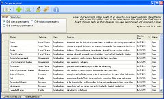 Screenshot of Prayer Journal main window